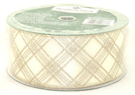 Gold Sparkle Plaid on Solid Ivory Wide Wired Ribbon 50 Yards