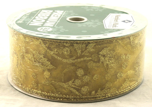 Gold Sparkle Holly Branches on Sheer Gold Wide Wired Ribbon 50 Yards