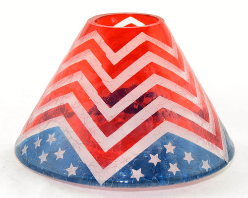American Dream Chevron Bunting Crackle Glass Jar Shade Yankee Candle