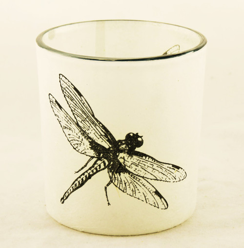 Dragonfly Autumn Nature Glass Votive Candle Holder Yankee Candle
