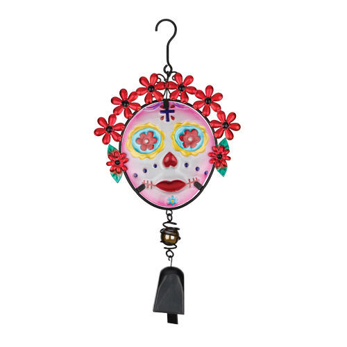 Painted Lady Skull Day of The Dead Hanging Bell