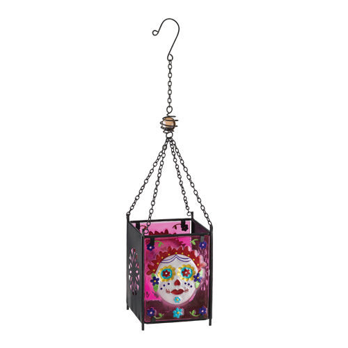 Day of The Dead Painted Lady Skull Glass Hanging Lantern Candleholder