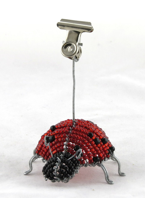 Ladybug Beaded Photo Card Clip (You Choose Color)