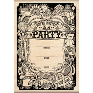 Party Invitation Wood Mounted Rubber Stamp Inkadinkado