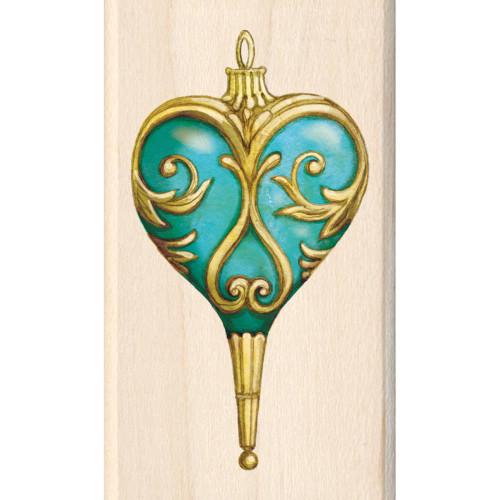 Teardrop Ornament Wood Mounted Rubber Stamp Inkadinkado