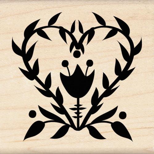 Folk Flower Wood Mounted Rubber Stamp Inkadinkado