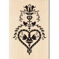 Folk Heart Wood Mounted Rubber Stamp Inkadinkado