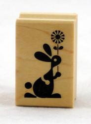 Bunny & Flower Wood Mounted Rubber Stamp Inkadinkado