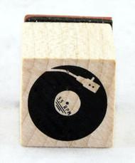 Vinyl Record Wood Mounted Rubber Stamp Inkadinkado