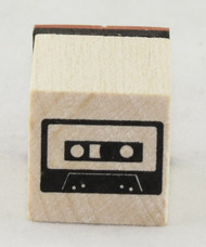 Cassette Tape Wood Mounted Rubber Stamp Inkadinkado