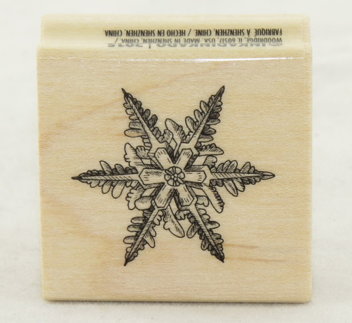 Solid Snowflake Wood Mounted Rubber Stamp Inkadinkado