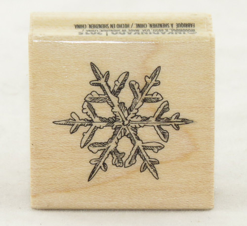 Thin Snowflake Wood Mounted Rubber Stamp Inkadinkado