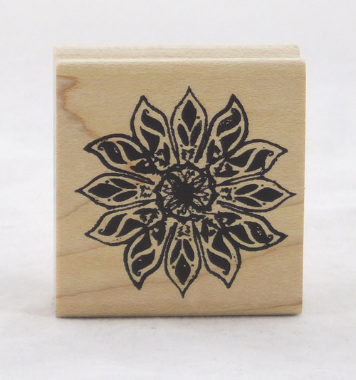 Poinsettia Noel Flower Medallion Wood Mounted Rubber Stamp Suzanne Carillo