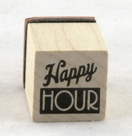 Happy Hour Wood Mounted Rubber Stamp Inkadinkado