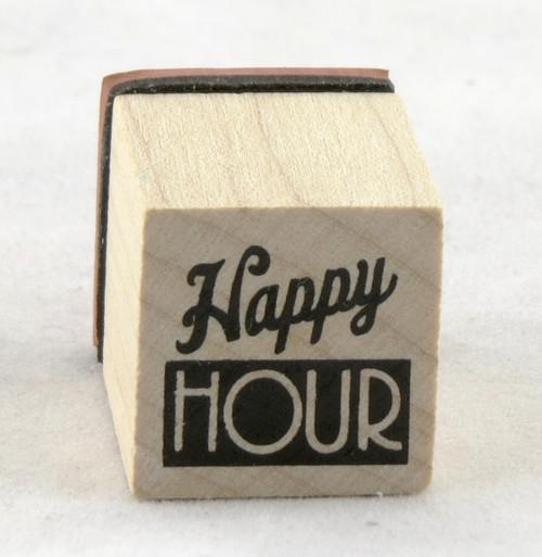 Happy Hour Wood Mounted Rubber Stamp Inkadinkado