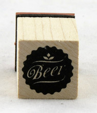 Beer Medallion Wood Mounted Rubber Stamp Inkadinkado