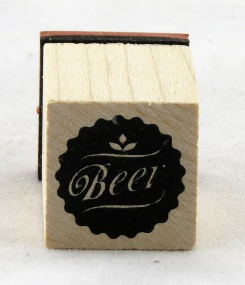 Beer Medallion Wood Mounted Rubber Stamp Inkadinkado