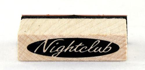 Nightclub Sign Wood Mounted Rubber Stamp Inkadinkado