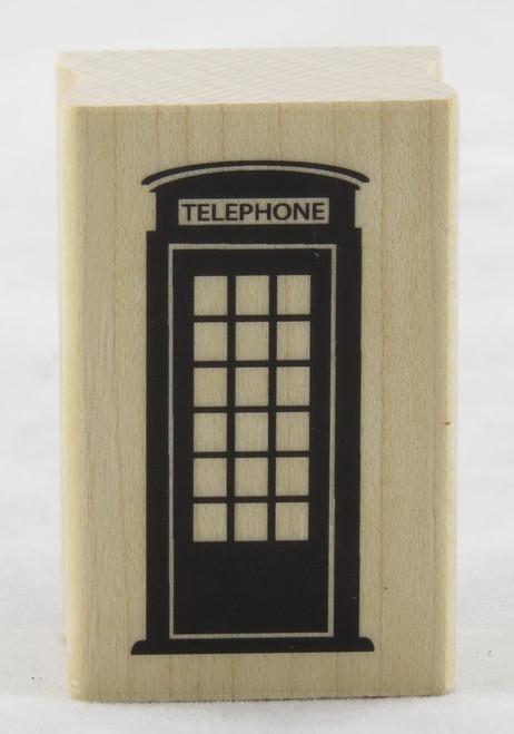 London Phone Box Wood Mounted Rubber Stamp Inkadinkado