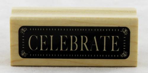 Celebrate Wood Mounted Rubber Stamp Inkadinkado