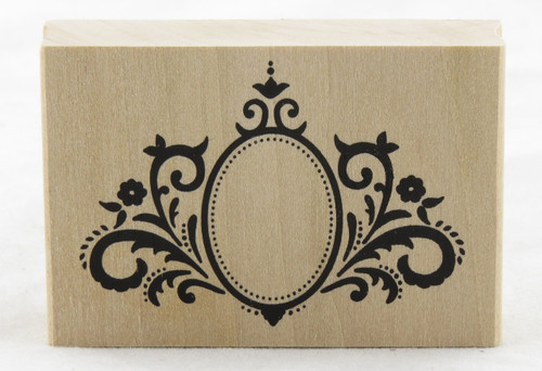 Oval Frame Flourish Wood Mounted Rubber Stamp Martha Stewart