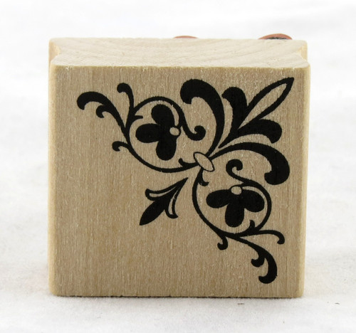 Corner Flourish Wood Mounted Rubber Stamp Martha Stewart