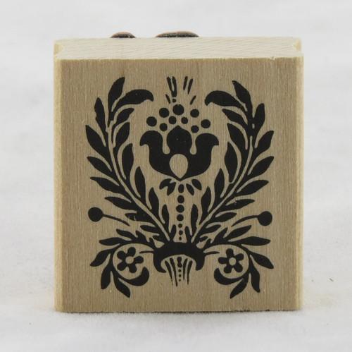 Tulip Folk Flower Flourish Wood Mounted Rubber Stamp Martha Stewart