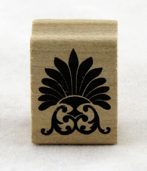 Fan Flourish Wood Mounted Rubber Stamp Martha Stewart
