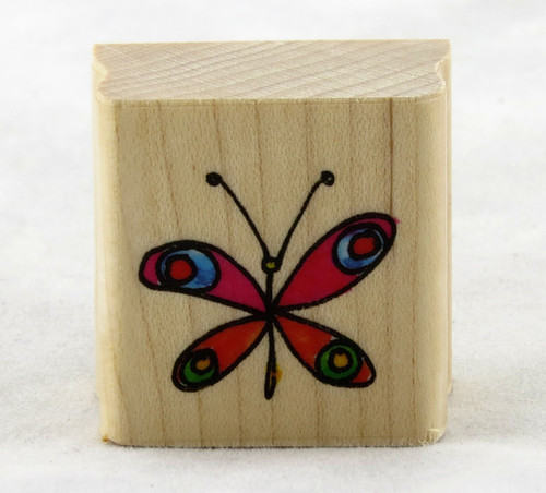 Butterfly Doodle Wood Mounted Rubber Stamp Penny Black
