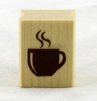 Coffee Cup Wood Mounted Rubber Stamp Inkadinkado