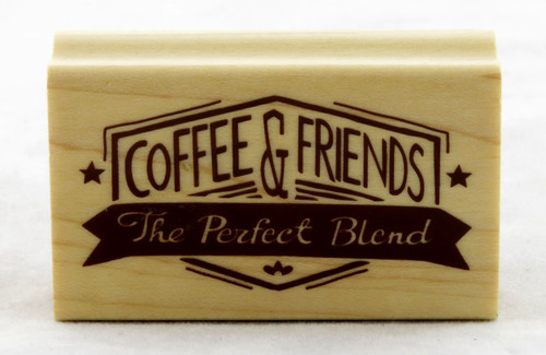 Coffee & Friends Wood Mounted Rubber Stamp Inkadinkado