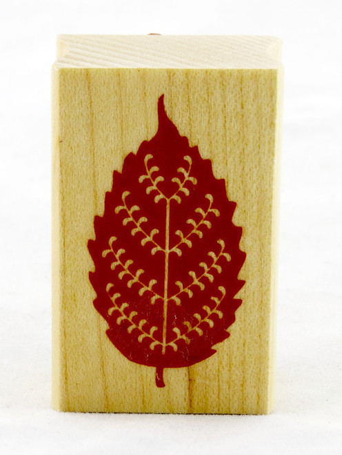 Beech Leaf Wood Mounted Rubber Stamp Inkadinkado