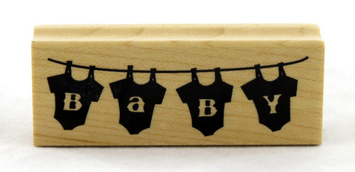 Baby Onesies on the Line Wood Mounted Rubber Stamp Inkadinkado