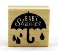 Baby Shower Umbrella Wood Mounted Rubber Stamp Inkadinkado