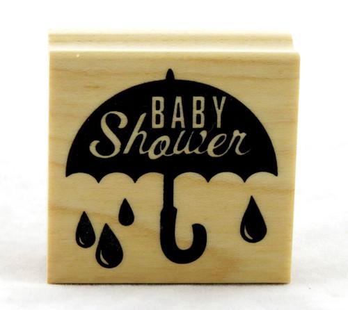 Baby Shower Umbrella Wood Mounted Rubber Stamp Inkadinkado