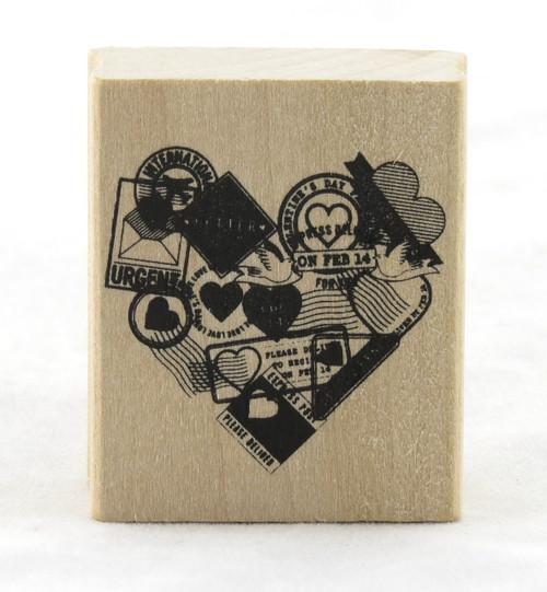 Postmark Heart Wood Mounted Rubber Stamp Martha Stewart