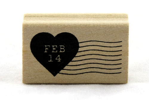 Feb 14 Heart Postmark Wood Mounted Rubber Stamp Martha Stewart