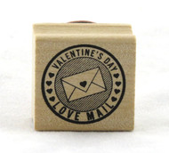 Valentine's Day Love Mail Circle Wood Mounted Rubber Stamp Martha Stewart