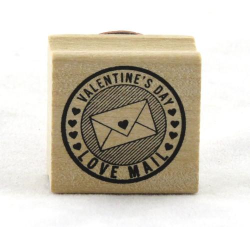 Valentine's Day Love Mail Circle Wood Mounted Rubber Stamp Martha Stewart