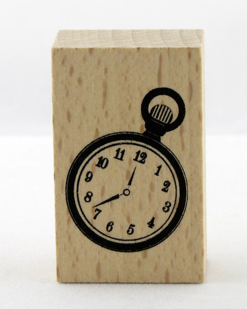 Pocket Watch Wood Mounted Rubber Stamp Momenta
