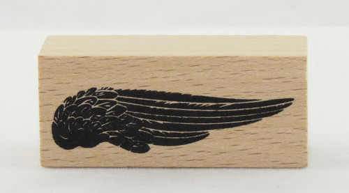 Wing Wood Mounted Rubber Stamp Momenta