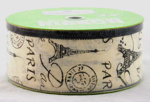 Paris on Aged White Linen Wide Wired Ribbon 50 yards