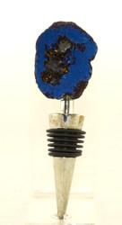 Blue Quartz Geode Rock Metal Bottle Stopper Earthbound Trading