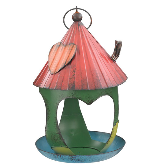 Country Heart Shack Metal Hanging Bird Feeder