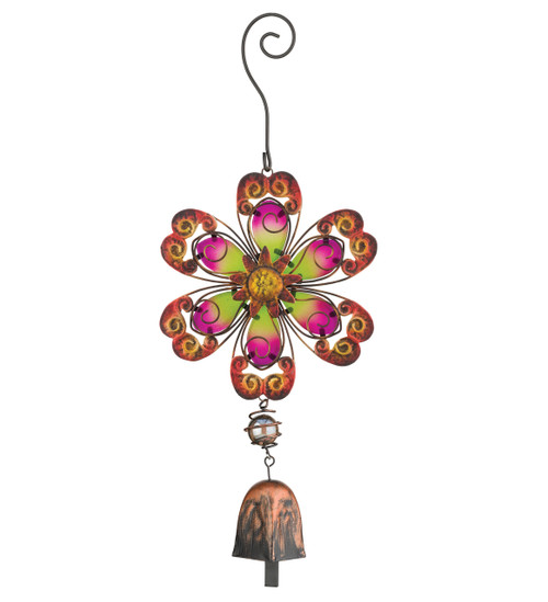 Flower Ornament Glass Metal Hanging Bell