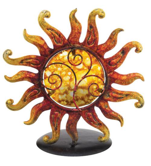 Fiery Sun Glass Metal Tea Light Candle Holder