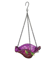 Purple Bellflower Glass Hanging Bird Feeder