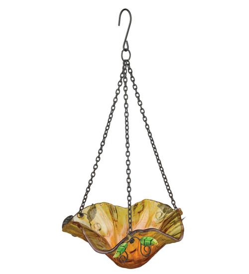 Yellow Bellflower Glass Hanging Bird Feeder