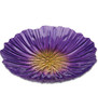 Purple Yellow Flower Art Glass Bird Bath Feeder