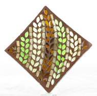 Autumn Inspirations Lyrical Leaves Mosaic Glass Candle Tray Yankee Candle